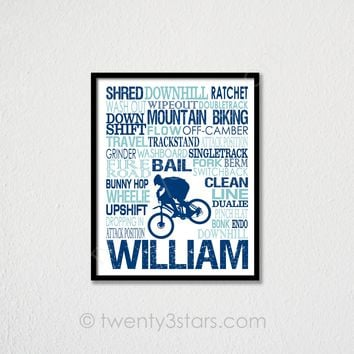 Mountain Biking Typography Wall Art - Choose Any Colors - twenty3stars