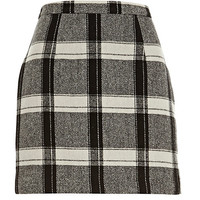 River Island Womens Black check mini skirt