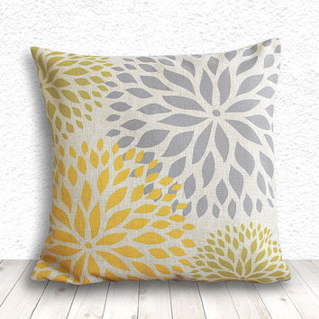Pillow Cover, Pillow Case, Cushion Cover, Linen Pillow Cover 18x18 - Printed Dahlia - 048