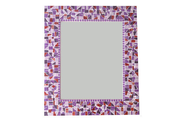 Purple mosaic wall mirror from green street mosaics green for Purple mosaic bathroom accessories