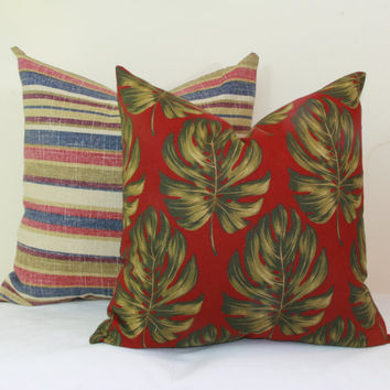 Red green palm leaf pillow cover 16x16 18x18 20x20 22x22 24x24 26x26 28x28 Euro sham red Lumbar pillow 12x20 12x24 14x24 14x26 16x24 16x26