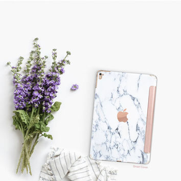Platinum Edition Bianco Sivec White Marble with Rose Gold Detailing Hybrid Smart Cover Hard Case for the iPad Air 2, iPad mini 4 , iPad Pro