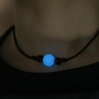 "Blue Night-luminescent Pearl Choker Necklace on Black Leather Cord 14"" + Gift Box"