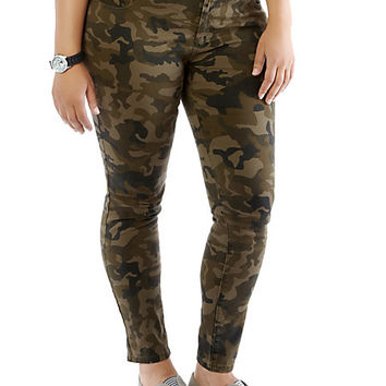 Plus-Size Skinny Camo Pants - Rainbow