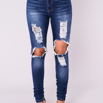 San Antonio Distressed Jeans - Medium Blue