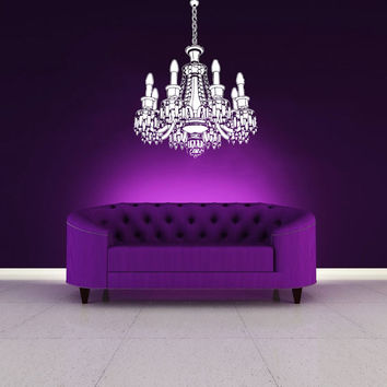 Chandelier Wall Decal Vinyl Sticker Decals Art Home Decor Mural Chandelier Light Vintage Candles Living Room Nursery Bathroom Dorm AN484