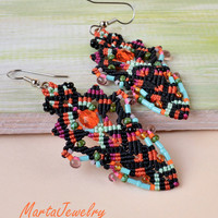Unique colorful bright earrings, beaded bohemian leaves, micro macrame jewelry, boho chic, black orange turquoise, Native American inspired
