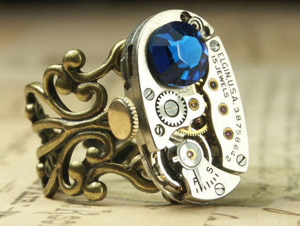 Steampunk Ring Jewelry - Steam Punk Elgin Bermuda Blue Brass Clockwork Swarovski Crystal