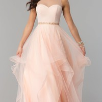 Illusion-Sweetheart Long Tiered-Tulle Prom Dress