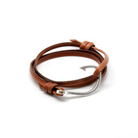 MIANSAI by Michael Saiger :: Hooks :: SILVER :: Silver Hook on Brown Leather