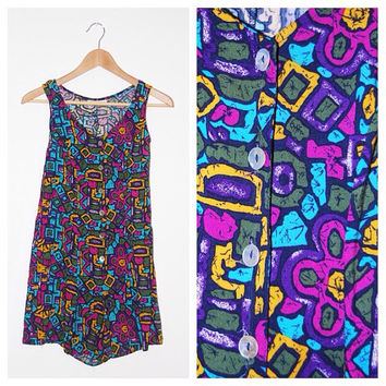 Vintage 1980's Geometric Pink, Purple, Yellow and Blue Floral/Aztec Patterned Gabriella Romper