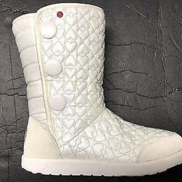 CREY1O Brand New UGG Australia Girl's I Heart Puffy Quilted Wool Lining Tall Boot US 4