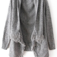 ROMWE | Buttonless Tassel Loose Anomalous Gray Cardigan, The Latest Street Fashion