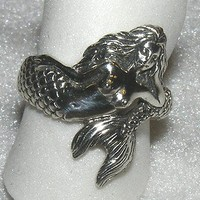 Mermaid Wrap Ring Sterling Silver Nautical Sea Maiden