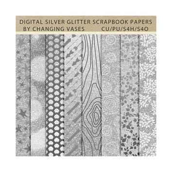 Digital Scrapbook Paper Pack Silver Glitter, Geometric Floral Wood Pattern, Instant Download Texture, Clipart Clip Art, Photo Background (3)