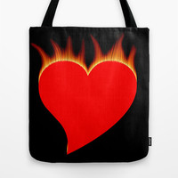 Burning heart Tote Bag by Gbcimages