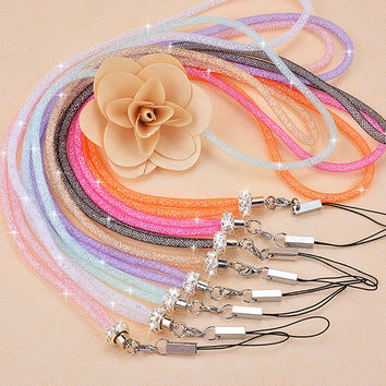 The new mobile phone lanyard strap Bling crystal luxury diamond Candy color hanging neck rope telephone belt hang chain Bracelet