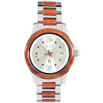 Koa Wood Stainless Steel Mechanical Watch White Color Dial
