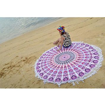 2017 New Arival Indian Round Mandala Tapestry Roundie Throw Blanket Hippie Beach Towel Mat Sun Bath Shawl