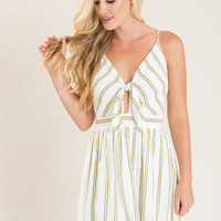 Bella Front Tie Yellow Stripe Sun Dress