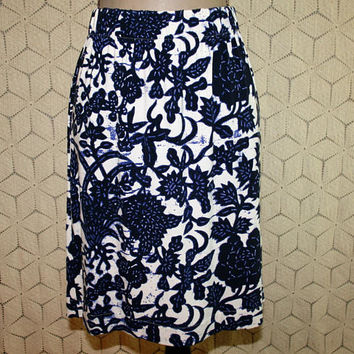 Jersey Skirt Rayon Knit Blue and White India Batik Boho Midi Large Casual Skirt Womens Skirts Boho Clothing Ann Taylor Womens Clothing