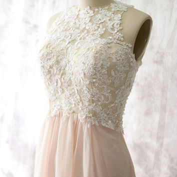 Peach Chiffon Short Bridesmaid dress, Wedding dress, Chiffon Lace dress, Party dress, Formal Dress, Lace Prom dresses