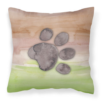 Dog Paw Watercolor Fabric Decorative Pillow BB7359PW1818