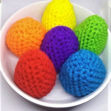 Set of 6, Crochet Easter Eggs, Amigurumi Eggs, Crochet Toy, Play Food, Handmade Plush, Easter Decor, Easter Basket, Easter Gift, Easter Egg