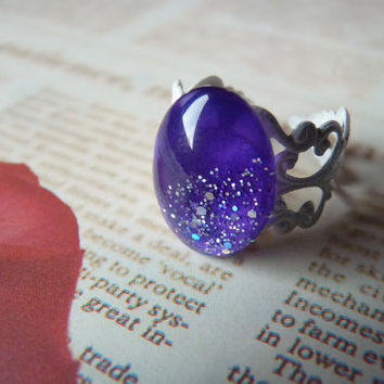 Purple Night2 Oval Gem Ring Kawaii Goth - Bronze Adjustable Filigree Band