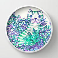 Garden Cat doodle in purple, blue & green Wall Clock by micklyn | Society6