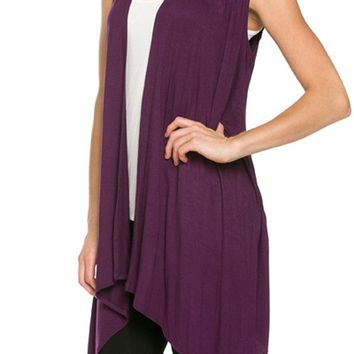 Women Sleeveless Open Front Shawl Irregular Hem Draped Cardigan Top
