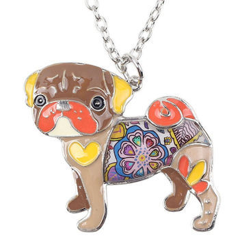 Enamel Pug Dog Choker Necklace