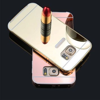 S6 Fashion Mirror Case 2 in 1 Plating Metal Frame Bumper + Ultra thin Mirror PC Hard Cover Case For Samsung Galaxy S6 S6 edge