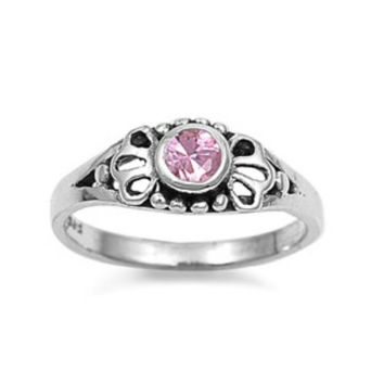 Sterling Silver Pink Topaz CZ Ring Size 1-5