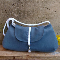 Avio blue clutch with white cord. Pale robin's egg blue shoulder bag. Little bag in blue. Roxanna clutch