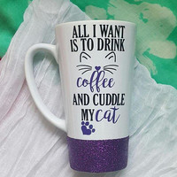 Drink Coffee And Cuddle My Cat Coffee Mug, Cat Mom Mug, Glitter Mug