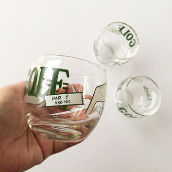 Vintage Golf-Themed Roly Poly Glasses, Midcentury Cocktail Glasses, Set of 3 Golf Motif Drinking Glasses, Vintage Barware, Green and White
