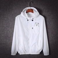 [ Free Shipping ] Ripndip Cat fashion Hooded Zipper Cardigan Sweatshirt Jacket Coat Windbreaker Sportswear _ 9255