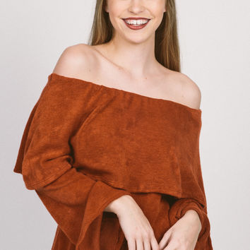 Sadie Off The Shoulder Top - Brick