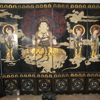 CHINESE HAND MADE ultra rare rose wood living room screen oriental asia antique singapore collectors piece furniture home buddha fresco