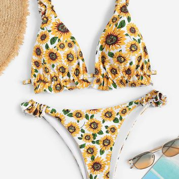 Random Frilled Strap Knot Back Sunflower Bikini Set