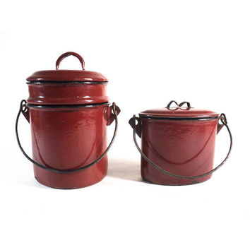 French Enamel Stackable Container, Tiffin Lunch Box, Enamelware Lunch Pail, Vintage Burgundy Enameled Camping Picnic Bento
