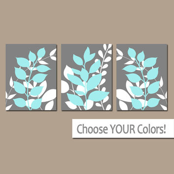Gray Blue Wall Art, Bedroom Pictures, Leaves CANVAS or Prints Leaf Aqua Bathroom Artwork, Foliage Pictures, Flower Art, Set of 3 Home Decor