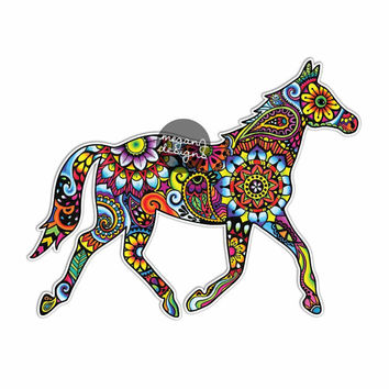 Horse Sticker Colorful Design Bumper Sticker Laptop Decal Car Decal Horse Equine Equestrian Pony Art Western Cowgirl Hippie Boho Cute Decal