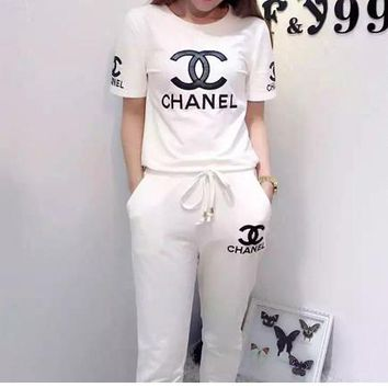 CHANEL Casual Pattern Print Shirt Top Tee Pants Trousers Set Two-Piece Sportswear