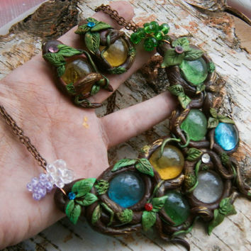 Woodland necklace , Forest necklace , elven necklace , colorful, Root pendants ,Faery necklace