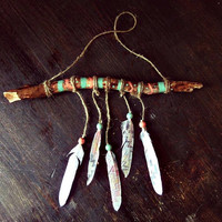 Aztec Driftwood Mobile - Bohemian Wall Hanging  -  Boho Tribal Decor - Hippie Home Decor - Nursery Wooden Mobile