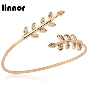 Linnor Elegant Crystal Leaves Open Bangle Silver Gold Alloy Charm Cuff Braclet for Women Accessories Pulseira Feminina Braslet