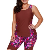 Echoine Burgundy Floral Insert Tankini Swimsuit Plus Size Women Tank Top and Shorts Sports Suits High Quality Bathing Suits