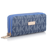 MK Michael Kors Fashion new more letter long section purse wallet women Dark Blue